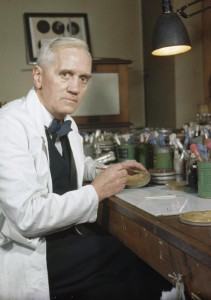 Alexander Fleming, who first discovered Penicillin. Here in his laboratory at St Mary's, Paddington, London.   Image via Imperial War Museums/Wikimedia